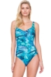 Gottex Felicity Blue Square Neck High Back One Piece Swimsuit