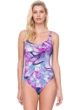 Gottex Felicity Purple Square Neck High Back One Piece Swimsuit