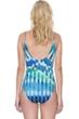 Gottex Highline Blue Gold Lingerie Surplice Underwire One Piece Swimsuit