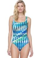 Gottex Highline Blue Square Neck One Piece Swimsuit