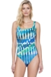Full Coverage Gottex Highline Blue Square Neck High Back One Piece Swimsuit