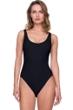 Gottex Jazz Black Textured Scoop Neck High Leg Underwire One Piece Swimsuit