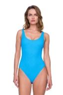 Gottex Jazz Turquoise Textured Scoop Neck High Leg Underwire One Piece Swimsuit