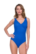 Gottex Jazz Sapphire Textured Mock Surplice One Piece Swimsuit