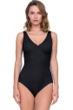 Full Coverage Gottex Jazz Black Textured Mock Surplice High Back One Piece Swimsuit