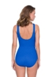 Full Coverage Gottex Jazz Sapphire Textured Mock Surplice High Back One Piece Swimsuit