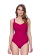 Gottex Lattice Wine Square Neck One Piece Swimsuit