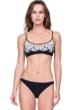 Gottex Rania Queen of Jordan Black and White Embroidered Bralette Bikini Top with Matching Hipster Bikini Bottom
