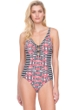 Full Coverage Gottex Retro Chic V-Neck High Back One Piece Swimsuit
