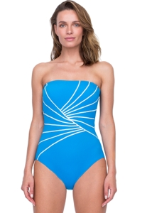 Gottex Sinatra Azure Bandeau One Piece Swimsuit