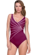 Full Coverage Gottex Sinatra Wine Mock Surplice High Back One Piece Swimsuit