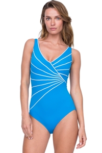 Gottex Sinatra Azure Surplice High Back One Piece Swimsuit