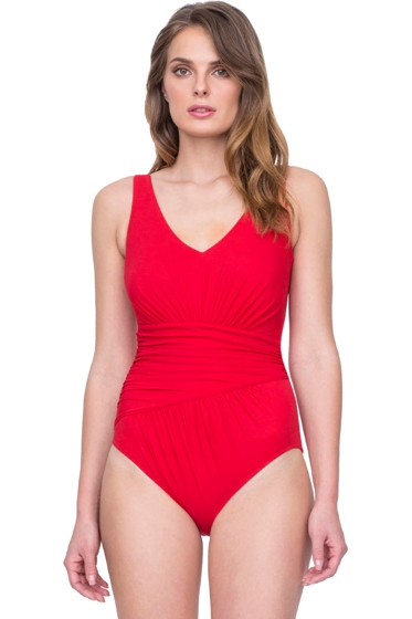 Gottex Vista Red V-Neck Shirred One Piece Swimsuit