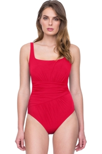 Gottex Vista Red Square Neck One Piece Swimsuit