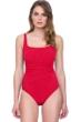 Gottex Vista Red Square Neck One Piece Swimsuit
