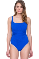 Full Coverage Gottex Vista Blue Square Neck High Back One Piece Swimsuit