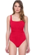 Full Coverage Gottex Vista Red Square Neck High Back One Piece Swimsuit
