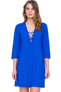 Gottex Vista Blue Lace Front V-Neck Tunic