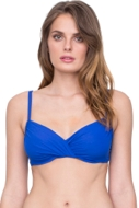 Gottex Vista Blue Surplice Underwire D-Cup Bikini Top