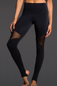 Onzie Black Mesh High Rise Stirrup Legging
