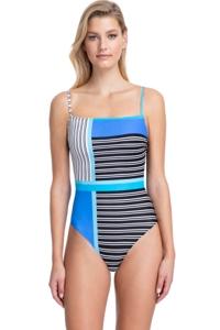 Gottex Classics Blue Lagoon Blue Square Neck Underwire One Piece Swimsuit