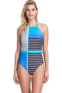Gottex Classics Blue Lagoon Blue High Neck Halter High Leg One Piece Swimsuit