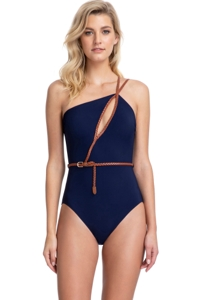 Gottex Collection Blue Marine Navy One Shoulder One Piece Swimsuit