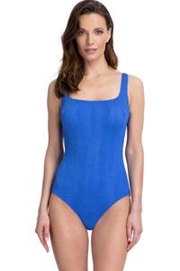 Gottex Essentials Cosmos Periwinkle Textured Square Neck One Piece Swimsuit