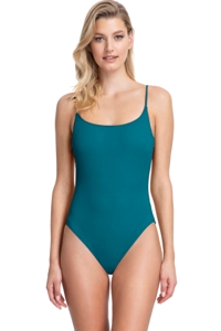 Gottex Collection Elle Forest Green Scoop Neck Underwire One Piece Swimsuit