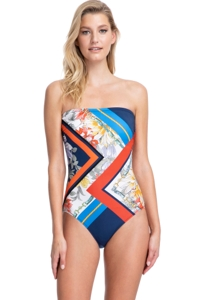 Gottex Classics Fleur Royal Navy and Red Bandeau Strapless One Piece Swimsuit