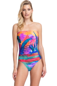 Gottex Contour Indian Summer Bandeau Strapless One Piece Swimsuit