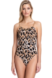 Gottex Contour Kenya Brown Gold Chain Lingerie One Piece Swimsuit
