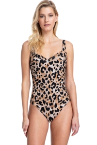 Full Coverage Gottex Contour Kenya Brown Square Neck High Back One Piece Swimsuit