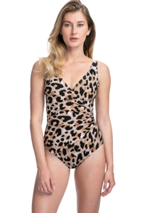 Full Coverage Gottex Contour Kenya Brown Surplice High Back One Piece Swimsuit