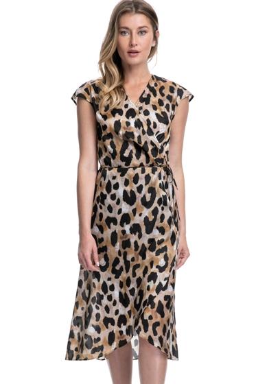 Gottex Contour Kenya Brown Tie Front Long Surplice Dress