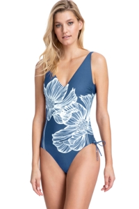 Gottex Collection Lily Dusk Blue V-Neck Underwire One Piece Swimsuit