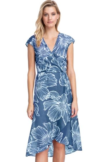 Gottex Collection Lily Dusk Blue Tie Front Long Surplice Wrap Dress