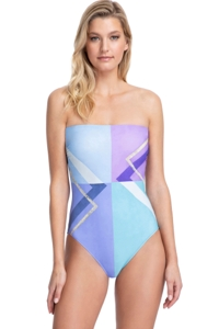 Gottex Collection Modern Art Blue Bandeau Strapless One Piece Swimsuit