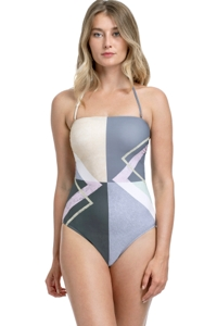 Gottex Collection Modern Art Grey Bandeau Strapless High Leg One Piece Swimsuit