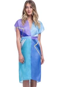 Gottex Collection Modern Art Blue Kimono with Belt