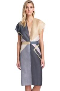 Gottex Collection Modern Art Grey Kimono with Belt