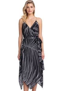 Gottex Collection Palla Black and White V-Neck Wrap Dress