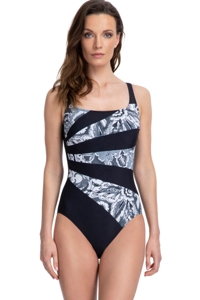 Full Coverage Gottex Essentials Treasure Trove Black and White Square Neck High Back One Piece Swimsuit