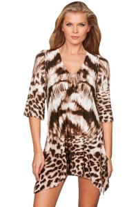 J Valdi Animal Print Sharkbite Tunic