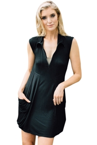 J Valdi Black Rayon Spandex Jersey Zip Front Dress with Pockets