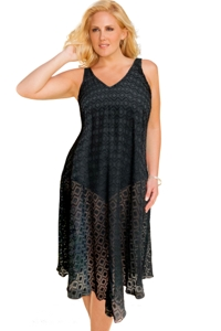 Always For Me Clipped Jacquard Black Plus Size V-Bottom Cover Up Dress