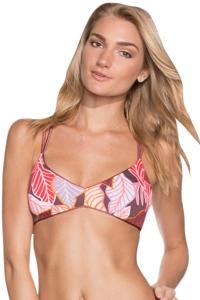 Reversible Maaji Shimmering Cognac Porto Bralette Strappy Back Bikini Top