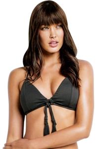 Seafolly Solid Black Loop Front Bralette Bikini Top