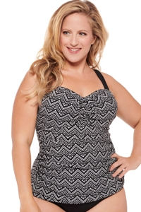 Christina Kuta Zig Zag Plus Size D-Cup Shirred Underwire Tankini Top