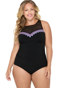 Christina Wanderlust Embroidery Plus Size Mesh High Neck One Piece Swimsuit